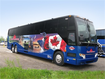 The striking graphics that dress each Great Canadian coach denote the company's pride in promoting Canadian unity.