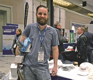 Colby Schocknmyer manages the Point S Tire store in Moab, Utah. But during the trade show, his job was to load up on freebies from tire manufacturers, including Hankook Tire America Corp. Hankook is Tire Factory's top vendor.