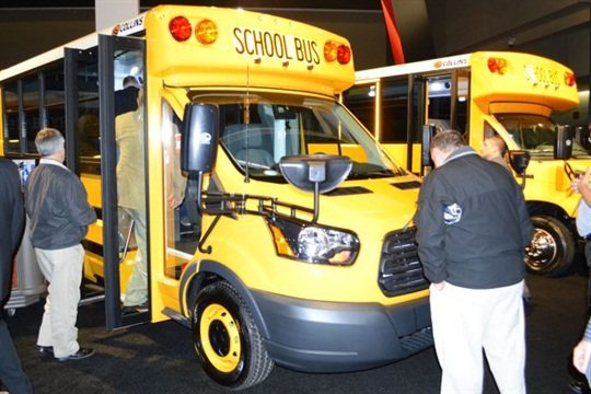 Summit Bus of Oklahoma City now offers Collins Type A buses, as does Summit Bus of Albuquerque. Seen here are Collins school buses at the 2015 NAPT trade show.