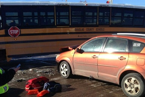 After a car crashed into his bus, John Horton noted some interesting reactions from his young passengers. Photo by Franktown Fire Protection District
