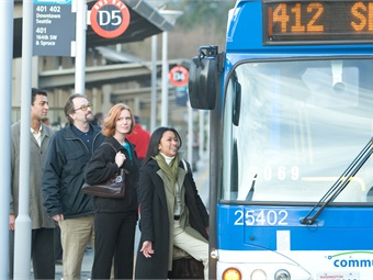 Nationwide, one in 36 commuters are super commuters, traveling 90+ minutes to work each day. Photo: Community Transit