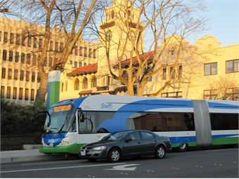 The 12.3-mile Green Line project will include 18 new stations and two new terminals served by high-capacity articulated buses. Community Transit