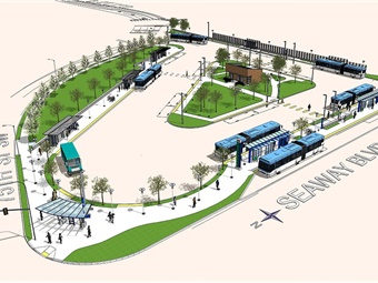 Rendering of Seaway Transit Center via Community Transit