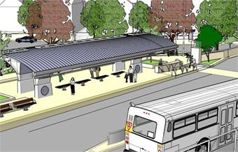Rendering of the future Parkville Station in Hartford, looking north.