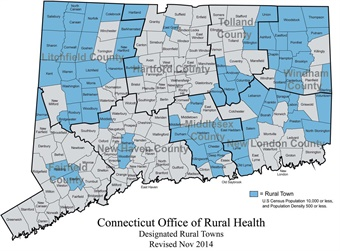 Rural areas have fewer doctors and public transportation centered in more urban areas. Image: Connecticut Office of Rural Health