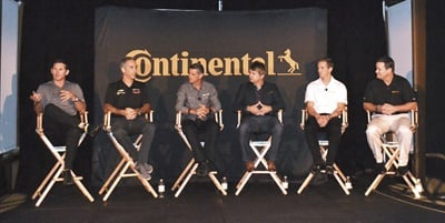 Travis Roffler (far right), Continental's director of marketing, leads a Q&A with the IMSA drivers who helped design the new ExtremeContact Sport: Andy Lally, Joao Barbosa, Ozz Negri, Ryan Dalziel, and Lawson Aschenbach.