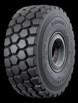 Continental's radial ContiEarth tires are equipped with premounted sensors that constantly monitor inflation pressure and temperature and can transmit the information in real time. The EM-Master E3/L3 for articulated dump trucks, loaders and dozers is pictured.