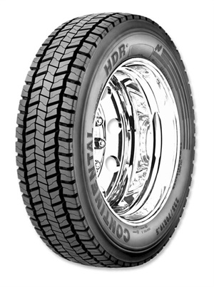 The new Conti HDR+ heavy drive regional tire (pictured) and the new Conti HSR+ 12% expected increase in mileage versus the prior versions, according to Continental.