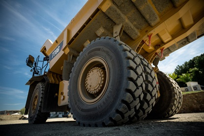 The RDT-Master tire for rigid dump trucks is available in multiple compounds options: the cut-resistant one pictured, plus a standard compoundfor mixed applications on different surfaces.