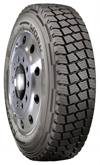 The Cooper Work Series All-Steel Drive (ASD) tire is an open shoulder steel-belted drive tire.