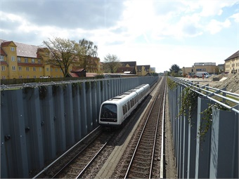 A metro train on Østamagerbanen seen from Saltværksvej in Tårnby in Copenhagen. Leif Jørgensen