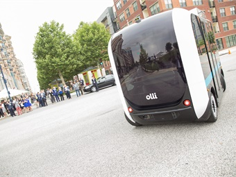 Local Motors' Olli, a self-driving, cognitive shuttle targeted for use by various markets, including transit agencies, universities and hospitals. Photo: Local Motors