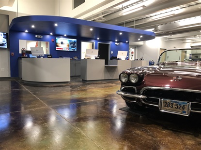 The space is designed to be open and airy, with lots of windows and a tall ceiling. It's so big the Browns plan to display a collectible car in it regularly. This 1962 Corvette belongs to Cory Brown's mother.