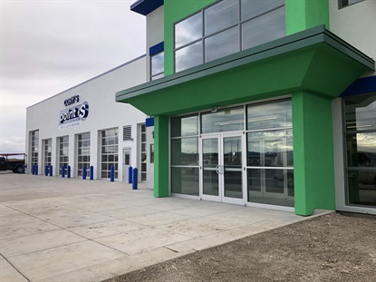 Cory's Point S Tire and Auto Service in Rapid City, S.D., sits atop a hill in the midst of a new retail development. Cory Brown says it's visible for 2 miles from Interstate 90.