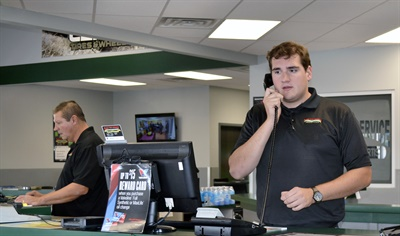 Plaza Tire Service Inc., MTD's 2017 Tire Dealer of the Year, knows the importance of properly handling phone calls. The company was founded 56 years ago in Cape Girardeau, Mo., by Pee Wee Rhodes. Above is third generation tire dealer Sam Rhodes.