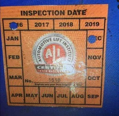 Representation of ALI's registered mark on labels such as the one shown here is not authorized. ALI says automotive lifts bearing the label depicted should have this label removed immediately, and the lift should be re-inspected by a qualified lift inspector.