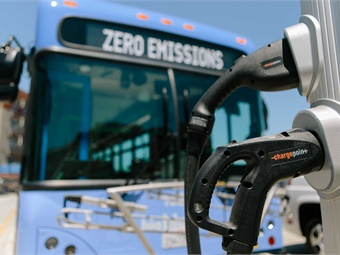Equipped with six onboard batteries, the bus is powered by 100% renewable energy, and can be fully charged in under four hours, with a paired ChargePoint Express 250 installation.