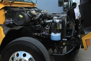 Cummins showed its new ISV5.0 running in a Type C school bus and other test vehicles. Officials noted that the presence of certain OEMs' vehicles did not indicate engine availability.