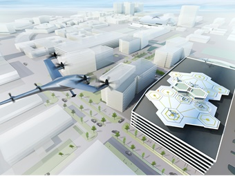 A visualization of the VTOL aircraft in Dallas. Uber is working with Dallas' Hillwood Properties to design vertiports, sites where the flying vehicles would pick up and drop off passangers. Graphic courtesy of Uber.