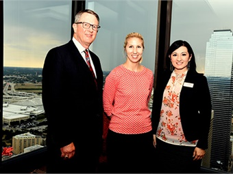 From left, Gary Thomas, DART president/executive director, Ashley Purgason, UTA associate vice provost in the Division of Student Success, and Rose Youngblood, assistant vice president for Institutional Advancement, attended the UTA-DART Transportation Academy's inaugural reception. DART