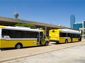 FTA will award the Bus and Bus Facilities Infrastructure Investment grants to designated recipients, states, and local governmental entities that operate fixed-route bus service, as well as Indian tribes. Photo courtesy DART