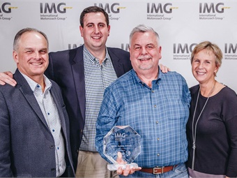 (Pictured from L to R) Real Boissonneault, IMG chairman of the board/president, Quebec's Autocar Excellence; Kyle DeVivo, DATTCO Director of Employee Relations; DATTCO President Donald DeVivo; and IMG President Bronwyn Wilson. Photo: DATTCO