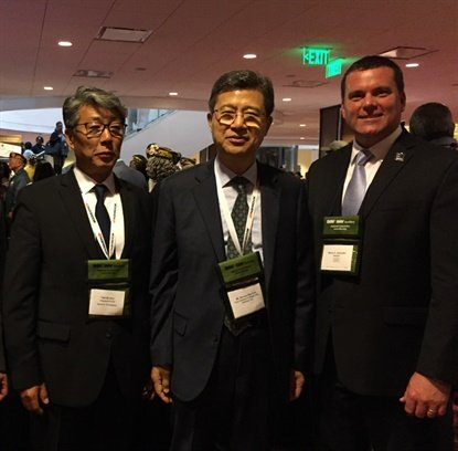 Hee Se Ahn, president of Hankook Tire America; Seung Hwa Suh, vice chairman and CEO of Hankook Tire; and Barry Jesinoski, executive director of DAV met at the DAV National Convention.