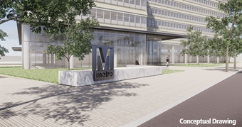 Selected with access to Metro in mind, the site is immediately adjacent to L'Enfant Plaza, with rail service on the Green, Yellow, Orange, Blue, and Silver lines, as well as convenient access to VRE commuter rail and multiple Metrobus routes. Rendering: Metro