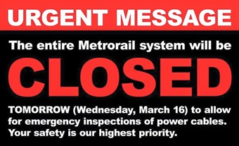 D.C. Metro's shutdown notification posted to its Facebook page.