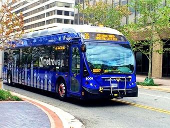 Metroway BRT vehicle photo via Wikimedia Commons/MJW15