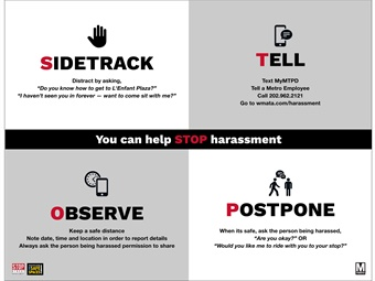 D.C. Metro's new anti-harassment ads empower riders to report and intervene if they witness or experience an incident of harassment.WMATA