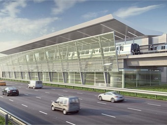 The Silver Line Phase II project (rendering shown), currently under construction, will extend Metrorail service from the current terminus at Wiehle-Reston East 11.4 miles to Ashburn, Va. Image: Clark Construction