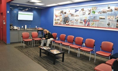 Tire Discounters Story, which began 40 years ago, is told on a mural in the spacious waiting area in Store No. 1.