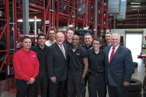 Pictured at Discount Tire's Scottsdale Road store near the company's headquarters in Scottsdale, Ariz., are, from left to right: Store Manager Jerry Marafioti, Josh Jarquin, Tony Cochrane, Chairman Bruce Halle, Andrew Townsend, Lyndon Slusher, Jordan Singer, Dustin Lobock, Andrew Tarnutzer and Vice Chairman Gary Van Brunt.
