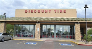 Due to local ordinances, the Discount Tire store near the company's headquarters in Scottsdale, Ariz., features a different logo and design. Discount Tire is famous for repairing flat tires free of charge.