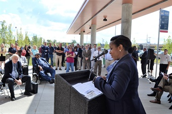Nichole Neal of the FTA office in Chicago speaks at the new Brookpark station. Photo: Greater Cleveland RTA.