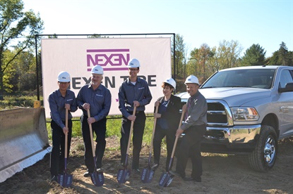 Nexen is investing $5 million in a new tech center in Ohio. Nexen leaders at the groundbreaking were, from left, Don Lee, Dean Rogers, Aaron Neumann, with Village of Richfield Mayor Bobbie Bashara, and Economic Development Director Brian Frantz.