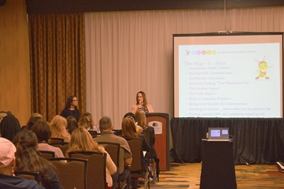 Tina Meuser (left) and Yvonne Dennings, two dispatchers from Elk Grove Unified School District, shared tips for effective radio communication duringthe California Association of School Transportation Officials' annual conference.
