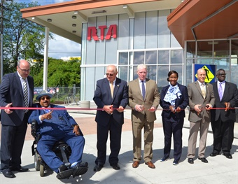 GCRTA officials cut a ribbon to officially open the new Brookpark Rapid Station near Cleveland Hopkins International Airport. Photo: Greater Cleveland RTA.