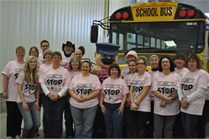 Delaney Bus Lines school bus drivers and the administrative team wore pink T-shirts on Feb. 26 in support of Canadian anti-bullying campaign Pink Shirt Day.