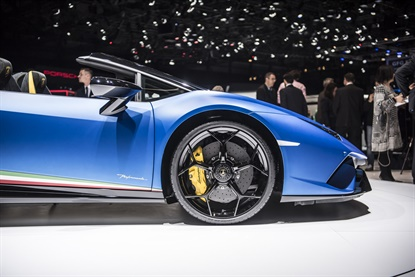 This Lamborghini is among the many Pirelli fitments on display at the 88th Geneva Motor Show.
