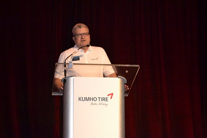Jim Mayfield thanked Kumho dealers for weathering a lot of changes over the past year and a half, and said those changes were made with an intent to create stability for the brand.