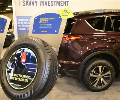 Goodyear unveiled the new Assurance MaxLife which has an 85,000-mile tread wear warranty at its annual dealer meeting. The 1,550 dealers attending represent 450 different businesses.