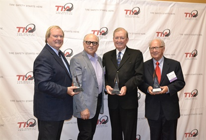 "The latest inductees to the TIA Hall of Fame include Dick Gust, left, and Dan Brown, third from left. Bob Sherkin, second from left, accepted the award on behalf of his late father Charles ""Husky"" Sherkin. Harvey Kovac, far right, accepted the award on behalf of his late brother Fredrick Kovac."