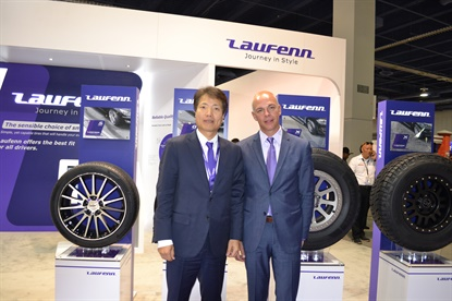 Jae Bum Park, left, and Shawn Denlein, say Hankook's Laufenn brand, introduced two years ago, is meeting expectations and bringing more brand awareness to the Hankook brand.