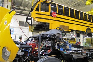Dallas County Schools recently took delivery of 103 new Saf-T-Liner C2s. Here, one of them is assembled in the Thomas Built Buses plant in High Point, N.C.