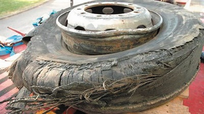 The 19-year-old tire after the deadly blowout.