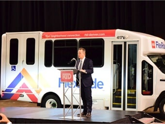 RTD CEO/GM Dave Genova was on hand to introduce the new look of the vehicles and discuss the benefits available to passengers at an event for FlexRide.Denver RTD