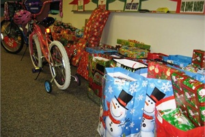 "David Douglas School District #40's bus driver training room turns into ""Santa's Workshop"" during the holiday season for the operation's adopt-a-family program."