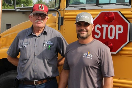 David Welborn (left) is retiring after nearly half a century with Winston-Salem/Forsyth County Schools in North Carolina. He is seen here with Anthony Avant, fleet maintenance supervisor.
